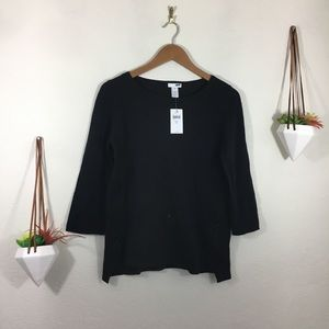 NWT J. Jill black sweater with faux lace up sides